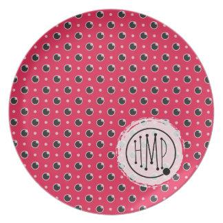 Sassy Polka Dot Monogram Plate - Berry Pink