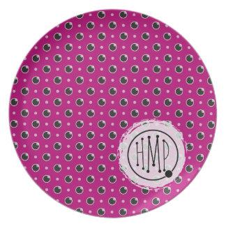 Sassy Polka Dot Monogram Plate - Purple