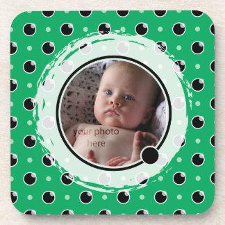 Sassy Polka Dot Photo Coasters Set - Green