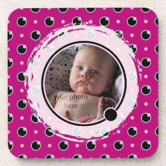Sassy Polka Dot Photo Coasters Set - Purple