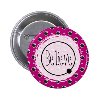 Sassy Polka Dots Believe Button - Purple