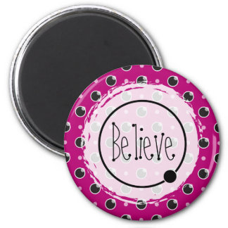 Sassy Polka Dots Believe Magnet - Purple