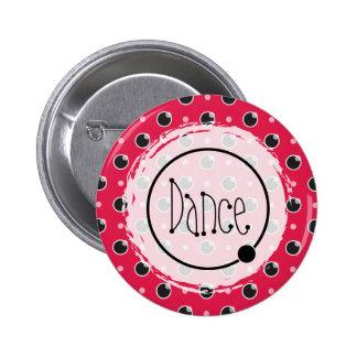 Sassy Polka Dots Dance Button - Berry Pink