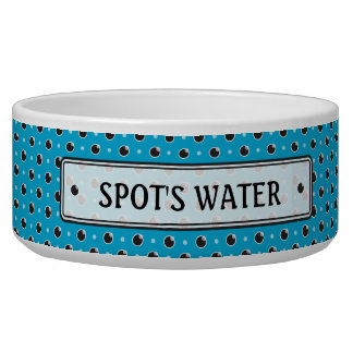 Sassy Polka Dots Personalized Pet Bowl - Aqua Blue