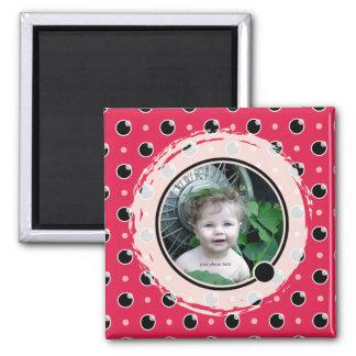 Sassy Polka Dots Photo Magnet - Berry Pink