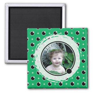 Sassy Polka Dots Photo Magnet - Green