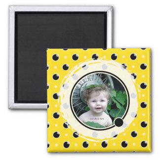 Sassy Polka Dots Photo Magnet - Yellow