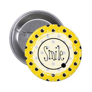 Sassy Polka Dots Smile Button - Yellow