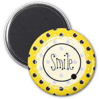 Sassy Polka Dots Smile Magnet - Yellow