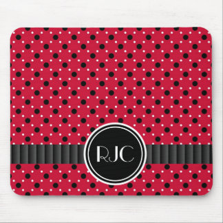 Sassy Red with Black and White Polkadots Mouse Pad