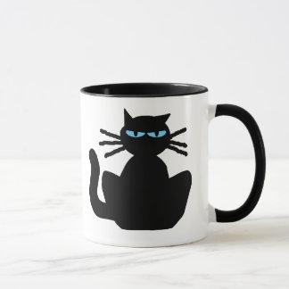 Sassy Spoiled Bored Black Cat with Blue Eyes Mug