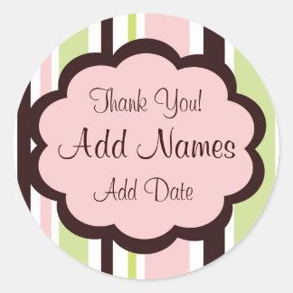 Sassy Stripe Pink and Brown Wedding Favor Sticker