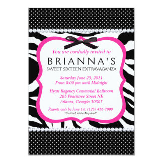 "Sassy Sweet Sixteen Invite 4.5"" X 6.25"" Invitation Card"