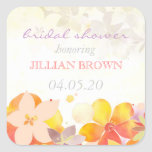 Sassy Tropical Flowers Bridal Shower Stickers
