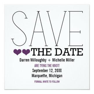 Sassy Typography Save the Date Invite, Purple 13 Cm X 13 Cm Square Invitation Card