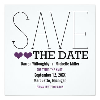 Sassy Typography Save the Date Invite, Purple Card
