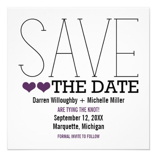 Sassy Typography Save the Date Invite, Purple
