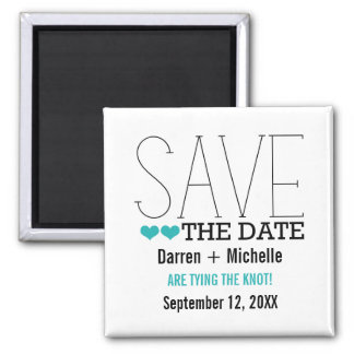 Sassy Typography Save the Date Magnet, Aqua