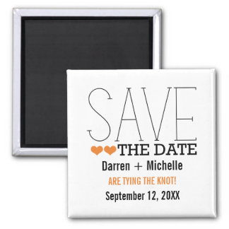 Sassy Typography Save the Date Magnet Orange