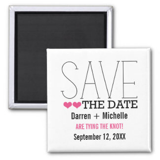 Sassy Typography Save the Date Magnet, Pink