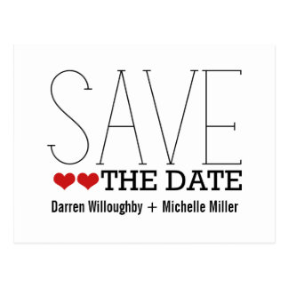 Sassy Typography Save the Date Postcard, Red Postcard