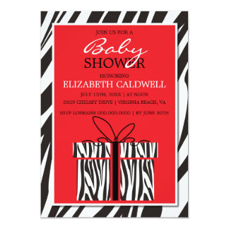 Sassy Zebra Baby Shower Invitation