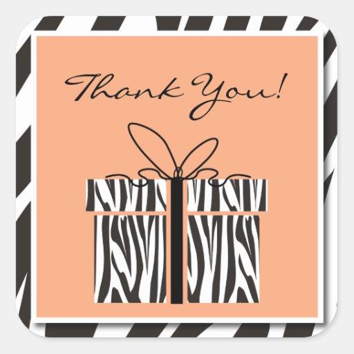 Sassy Zebra Baby Shower Thank You Stickers
