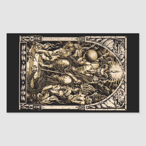 Satan Enthroned Rectangle Stickers