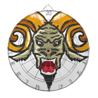 Satan Horned Beast Sketch Dartboard