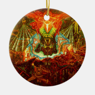 Satan inspiring the world ceramic ornament