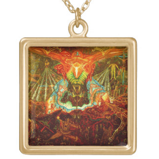 Satan inspiring the world gold plated necklace