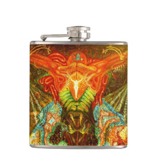 Satan inspiring the world hip flask