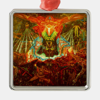 Satan inspiring the world metal ornament