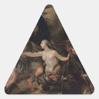 Satan, Sin and Death by William Hogarth Triangle Sticker
