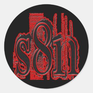 Satan - Tire Tread Design Round Sticker