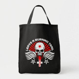 Satanic Biker Skull and Slogan Grocery Tote Bag