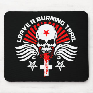 Satanic Biker Skull and Slogan Mouse Pad