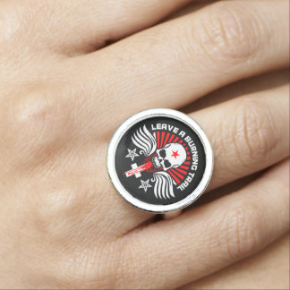 Satanic Biker Skull and Slogan Ring