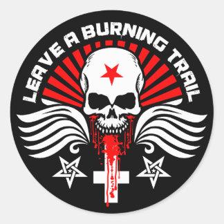 Satanic Biker Skull and Slogan Round Sticker
