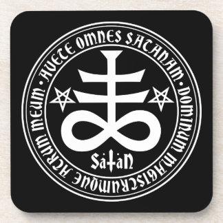 Satanic Cross with Hail Satan Text and Pentagrams Coasters