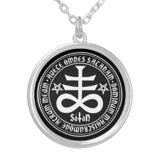 Satanic Cross with Hail Satan Text and Pentagrams Silver Plated Necklace