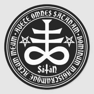 Satanic Cross with Hail Satan Text and Pentagrams Round Stickers