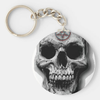 Satanic Evil Skull Design Basic Round Button Key Ring