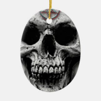 Satanic Evil Skull Design Ceramic Ornament
