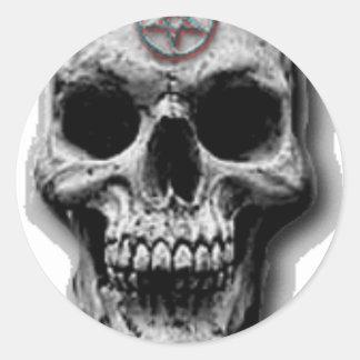 Satanic Evil Skull Design Round Sticker