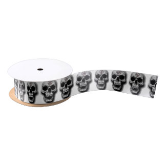 Satanic Evil Skull Design Satin Ribbon