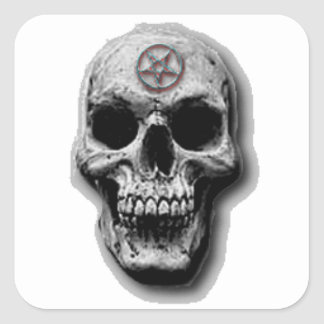 Satanic Evil Skull Design Square Sticker