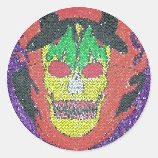 satanic head round sticker