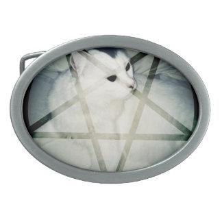 satanic kitty buckle oval belt buckles