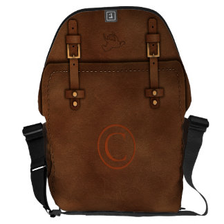 "satchel Pony Express leather Monogram ""C"" Courier Bag"